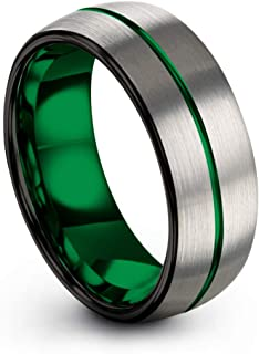 Tungsten Carbide Wedding Band Ring 8mm for Men Women Green Red Fuchsia Copper Teal Blue Purple Black Center Line Dome Grey Brushed Polished