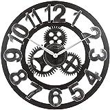 JanPraci Orologio da Parete Vintage con Numeri Romani 40cm Metallo Scheletro Non Ticchettio Decorativo per Cafe Hotel Bar Ufficio Cucina Soggiorno (Argento-Legno)