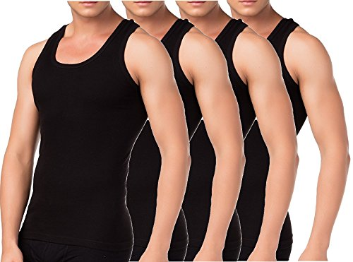 BestSale247 - Pack de 2 o 4 camisetas clásicas para hombre, camisetas interiores, camisetas de tirantes en blanco, negro o gris jaspeado, 100% algodón Negro Medium