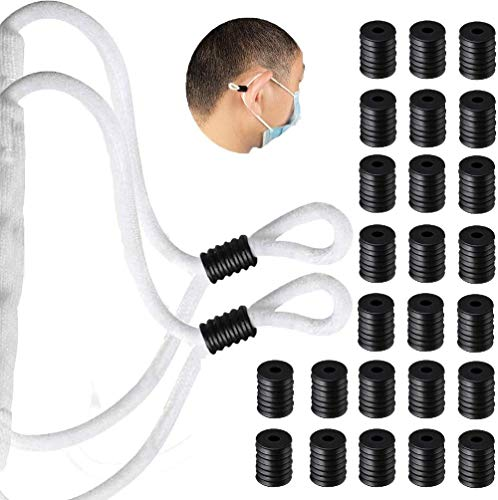 Cord Locks Silicone Toggles for Drawstrings, Elastic Cord Adjuster, Rubber Cord Locks for Face Masks, Lanyard Buckle Non Slip Stopper, Adult Kids Lanyard Strap(200Pcs,Black)