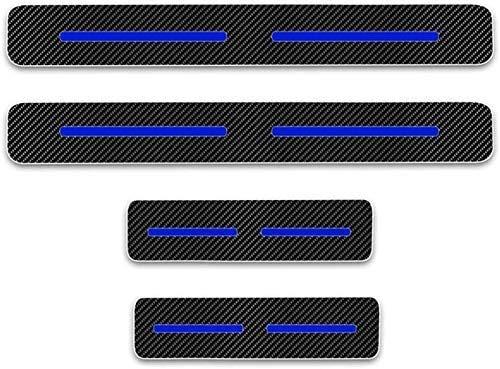 JYCX for 4 Stück Externes Carbon-Faser-Leder-Auto Kick-Platten Pedal for Qashqai Juke X-Trail Almera Tiida, Einstieg Willkommen Pedal-Tritt Scuff Threshold Bar Schutz Aufkleber Streifen Platte Th