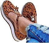 WEDF Mujer Sandalias con Plataforma y cuña Rome Botines con Recorte Plano Correa con Hebilla para Mujer Sandalias de Cuero con borlas Zapatos de Punta Cerrada con Hebilla Casual Zapatillas de Playa