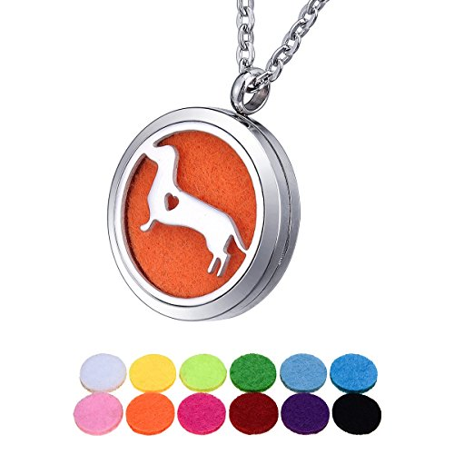 Aromatherapy Essential Oil Diffuser Necklace Dachshund Locket Pendant 12 Colors Refill Pads,24' Chain (Dachshund)