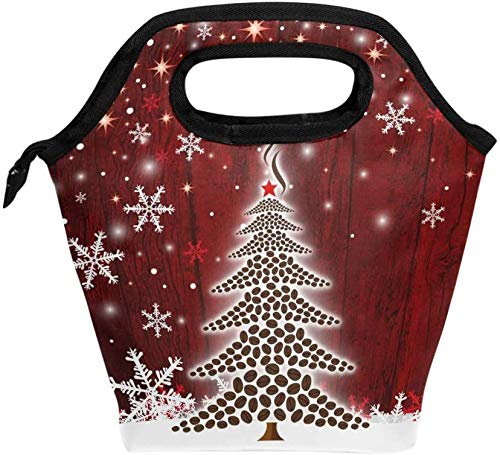 Bolsa de almuerzo, árbol de Navidad, copos de nieve, enfriador aislado, lonchera de hielo, bolsa de asas, bolso para hombres, mujeres, niños, adultos, niños, niñas
