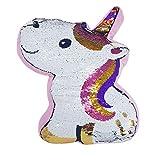 Esotica® Cuscino Unicorno Gira e brilla Decorativo Payette 100% Poliestere Super soffice 40x30x6cm