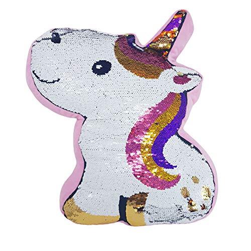 Esotica - Cojín de unicornio giratorio y brillante, decorativo, Payette 100% poliéster, muy suave, 40 x 30 x 6 cm