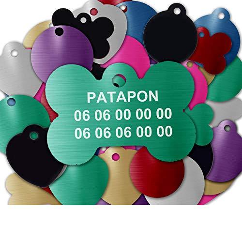 Gravure Concept Médaille pour Chien Et Chat À Personnaliser – Médaillon Gravé 31 mm - 1 à 3 Lignes – 8 Couleurs Disponibles (Vert, Os)