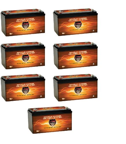QTY 7 Vmaxtanks VMAXSLR175 AGM deep cycle 12V 1225AH battery for Use with PV Solar Panel wind turbine gas or electric power backup generator or smart charger for off grid sump pump lift winch pallet jack and any other heavy duty application
