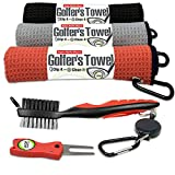 Fireball Golf Towel Gift and Accessories Set - 3 golf towels, golf divot tool, ball marker, and golf cleaning brush, golf gifts for men, women, children ( many colors)