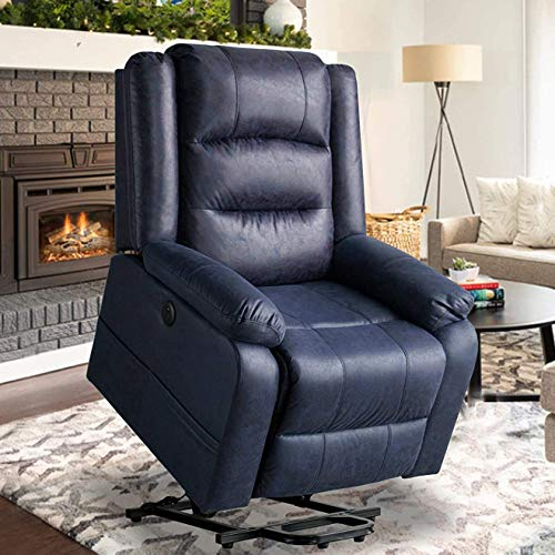 oneinmil Electric Power Lift Recliner Chair Leather Like Fabric Recliners for Elderly, Home Sofa Chairs with Heat & Massage, Remote Control, 3 Positions, 2 Side Pockets and USB Ports, Blue