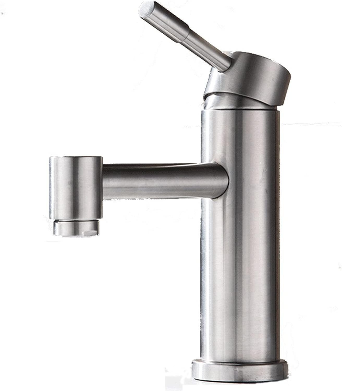 304 Stainless Steel Faucet Single Hole Hot And Cold Bathroom Wash Basin Mixing Valve European Aperture Is 32MM To 40MM Can Be Installed Liuyu.