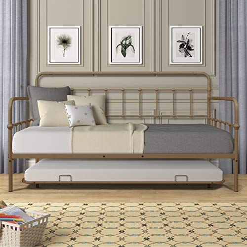 Twin Size Metal Frame Daybed with Trundle,Heavy Duty Steel Slat Support Saving Space Bed Sofa,Bedroom Living Room Furniture for Guest,No Spring Box Needed Brass