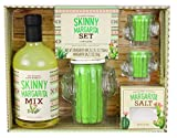 Thoughtfully Gifts, Skinny Margarita Set, Includes 25.3 Fluid Ounces of Margarita Mix, 2 Ounces Margarita Salt, Cactus...