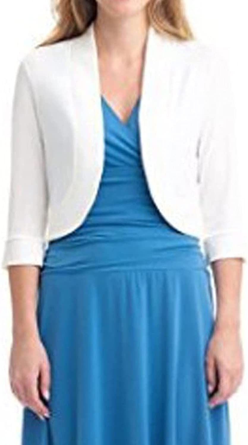 SSSSAl Women's Cropped Cardigan 3/4 Sleeve V-Neck Button Down Open Front Ribbed Knit Shrug Sweater