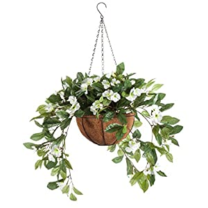 OakRidge Fully Assembled Impatiens Hanging Basket – Large Artificial Flower Outdoor or Indoor Decoration with Hook – White