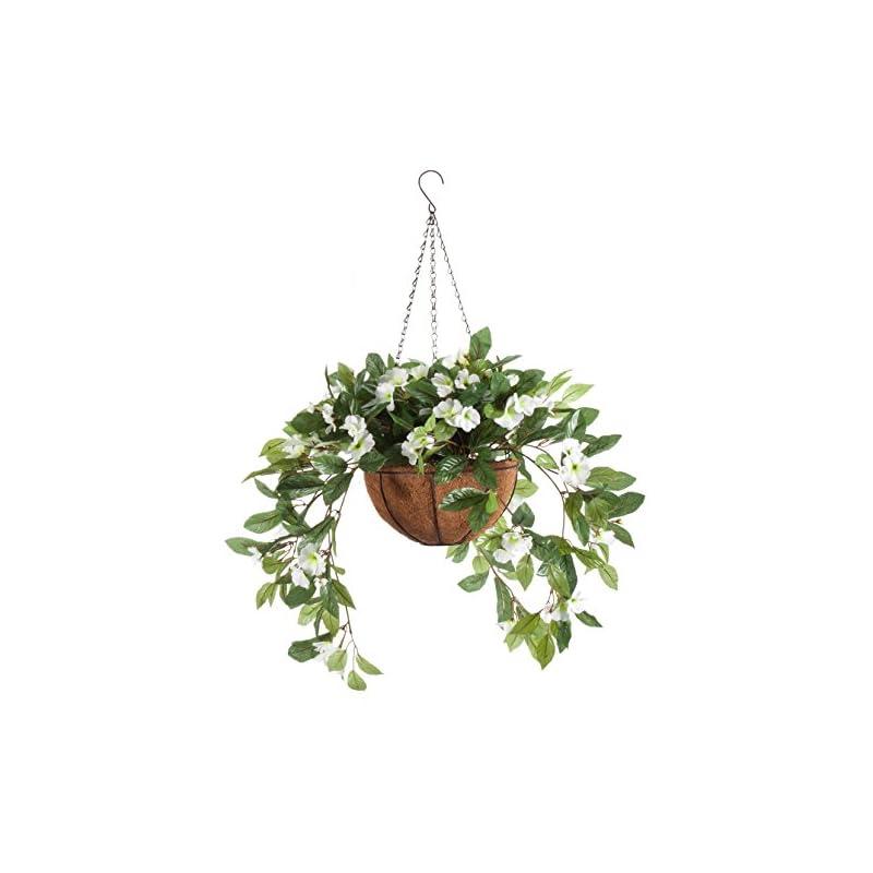 silk flower arrangements oakridge fully assembled impatiens hanging basket – large artificial flower outdoor or indoor decoration with hook - white