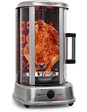OneConcept Kebap Master Pro - kebabgrill, kippengrill, gyrosgrill, verticale grill, roterende grill met draaispit, elektrisch/tafelgrill voor thuis, max.1500 watt, 360 ° warmteverdeling, zilver