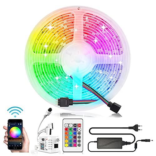 Arotelicht 12V 5M LED Streifen WiFi RGB Strip Kit,mit Netzteil&Controller 300LEDs 5050SMD Smart RGB Stripe Lichtleiste Kompatibel mit Alexa,Google Home Smartphone für Haus,Party,Hochzeit,Dekoration