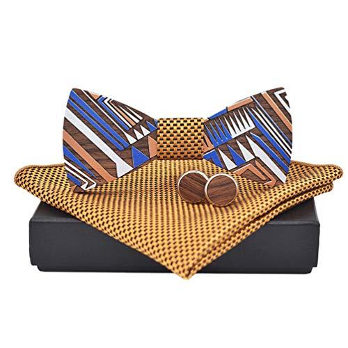 Hombres Bowties Pajarita Elegante con Gancho con Nudo y Ajustable Disponible, Pañuelo de Bolsillo, Corbatín de Madera Hecho (12 * 5.4cm, Amarillo)