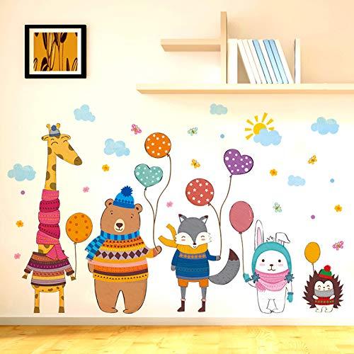 TAOYUE Giraffe Bear Fox Rabbit Hedgehog Wall Stickers DIY Animals Mural Decals for Kids Rooms Baby Bedroom Decoration