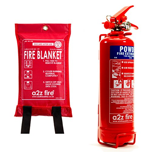 Fire Extinguisher & Fire Blanket : 1kg Powder Fire Extinguisher for Home, Kitchen, Car, Caravans & Boats - A2Z Fire Service Label Included