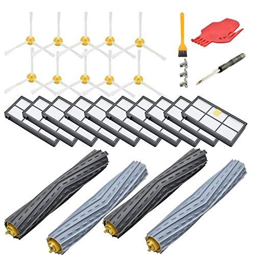 Kit de accesorios de repuesto para Irobot Roomba 800 Series 850 860 861 866 870 880 890 900 Series 960 980,10 filtro, 10 cepillos laterales, 2 Fun Life (color: Multi)
