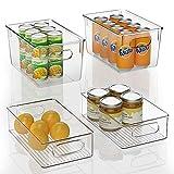 FINEW Juego de 4 organizadores apilables para frigorífico, 2 grandes/2 pequeños, caja de almacenamiento para congeladores, encimeras de cocina y armarios, de plástico transparente, sin BPA