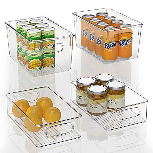 FINEW Set von 4 Stapelbare Kühlschrank Organizer - 2 Große/2 Mittel, Aufbewahrungsbox für Gefriergeräte, Küchenarbeitsplatten und Schränke, Clear Plastic Pantry Lebensmittelaufbewahrung- BPA Frei