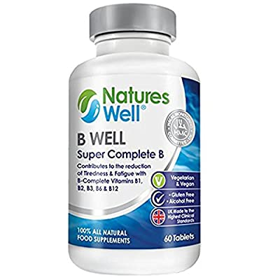 Vegan Halal Super Complete B (B Well) 100% Certified Vitamins B1, B2, B3 B6, B12 and Folic Acid & Biotin to help reduce Tiredness & Fatigue, 60 Tablets Suitable for Men and Women, Optimised Vegetarian Supplement with Essential B Vitamins by Natures Well b