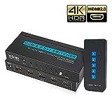 【新しいアップグレードチップ】HDMI切替器 5入力 1出力 HDMI分配器 HDMI2.0 HDCP2.2対応 HDMIセレクター 4k 60hz 高解像度 3D 対応 hdmi切り替え リモコン 付き hdmi 切替 自動 手動, PS 3/PS4/PS4 pro、Nintendo Switch、 Xbox、Amazon FireTV、4K Ultra HD Blu-rayプレーヤー、 Apple TVなど対応 HDMIスイッチ (5入力/1出力)