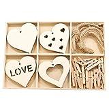 #N/A 40ピース/個ハート形の木製スライスカットアウトペンダントDIY装飾名Sis - Style02