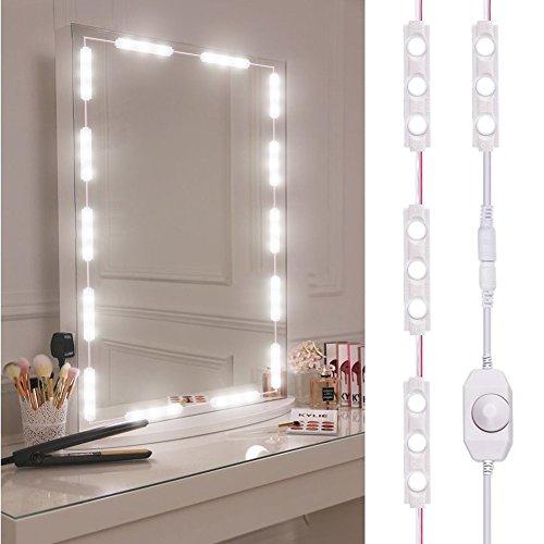 LED Spiegelleuchte, Dimmbar spiegel beleuchtung mit 60 Leds, 10FT Länge Make Up Licht, 6000K Kaltweiß LED Schminkspiegel Kit,LED Spiegelleuchte für Schminktisch Beleuchtung