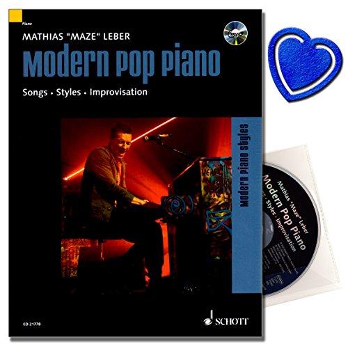 Modern Pop Piano - songs, stijlen, improvisatie - Aanbevolen door de Popakademie Baden-Württemberg - piano school [piano noten met CD] met hartvormige muziekklem