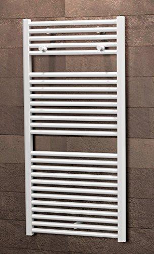 Schulte Badheizkörprer Bavaria, Standardanschluss unten außen, 121 x 60 cm, alpin-weiß,  Design-Heizkörper für Zweirohr-System