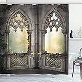 ABAKUHAUS gótico Cortina de Baño, Rose Oriental y Flor, Material Resistente al Agua Durable Estampa Digital, 175 x 200 cm, Beige