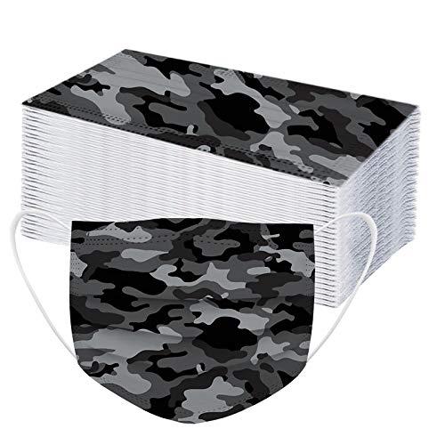 LUCKME 50 Stück Einweg Mundschutz Camouflage Drucken 3 lagig Mund-Nasen-Schutz, Einfarbig Multifunktionstuch Bandana Staubdicht Atmungsaktiv Bedeckung Halstuch Schals für Erwachsene Frauen Männer