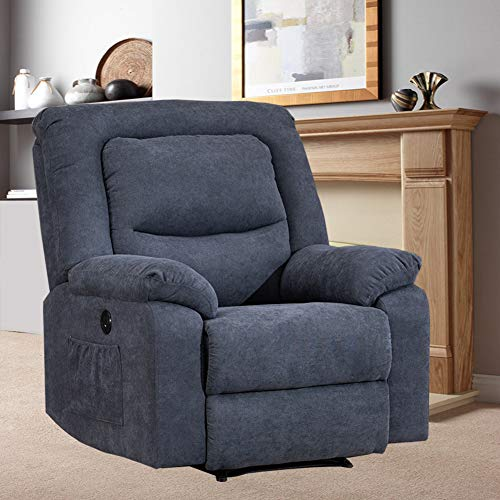 BINGTOO Power Recliner Chair with Heat and Massage, Electric Recliner Sofa Chairs with USB Charge Port for Elderly and Adults, Soft Linen Sleeper Reading Sofa Chairs for Bedroom, Living Room (Blue)