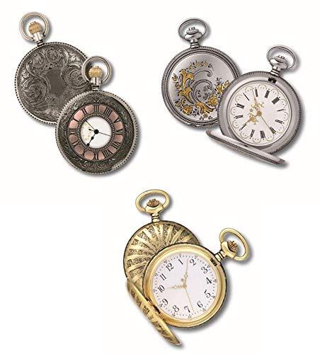 OPO 10 - Lote de 3 Relojes de Bolsillo con Fuelle, réplicas de Relojes Reales de antaño: Dimensiones 9.8x12.3x2.3H (Ref: 201 + 202 + 203)