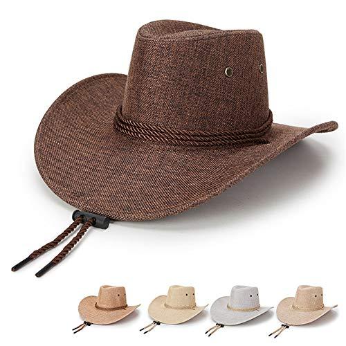 Azly-Caps Chapeaux de Lin de Cow-Boy, Chapeaux de Soleil de Bord Large Pliables Unisexe pour la Plage Occidentale,Marron