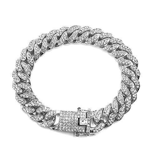 HUAMING 12mm Gold Plated Hip Hop Iced Out CZ Lab Diamond Miami Cuban Link Chain Bracelet for Men and Women Silver 9inch