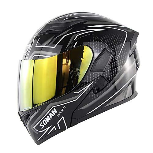 CX ECO Integraler Helm Modularer Flip-Up Motorradhelm Street Bike Racing Sturzhelm D.O.T Zertifizierung Dual Lens Open Face Racing Helm,Gold,L