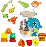 WISHTIME Badespielzeug für Babys, Kinder Wasser Dusche Badewannenspielzeug mit Delfin Wasserfall Bahnhof Rotieren Angelspiele Stapelbecher Für Kinder Baby ab 18 Monate