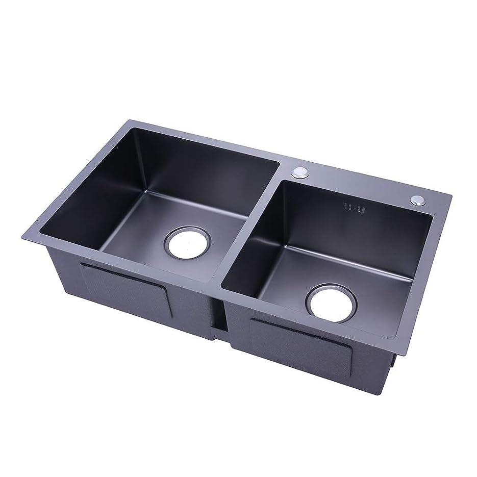 みなす致命的な送るシンク 台所の流しのためのステンレス鋼単一の穴キッチンのシンクデッキキッチンミキサー キッチンシンク (色 : ブラック, サイズ : 82x45cm)
