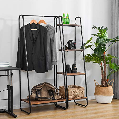 LZ Leisure Zone Heavy Duty Clothes Rail Metal Coat Stands with Shoe Rack Storage Cabinet Wardrobe 4 Tiers Ladder Bookshelf Shelving Unit Vintage Wood