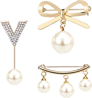Shuxy 3PCS Brooches for Women White Faux Pearl Brooch Pins Dangle Beads Brooch Bow Brooch Clips Buckle Pin Jewelry Brooches for Sweaters Shawls Collars Dresses and Most Clothes for Girls, Gold