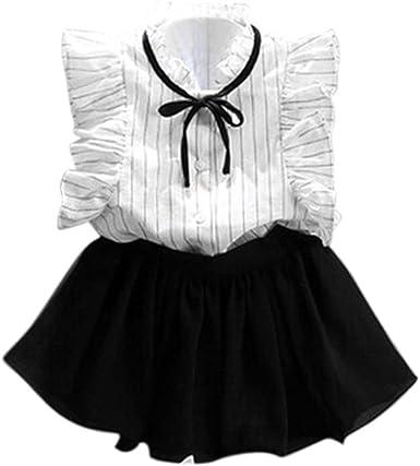 QinMM Conjunto de Falda y Camisa de Rayas de Las niñas ...