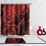 OOFAYWFD Rosenblütendesign Digital Printing Bad Dusch Fenstervorhang 71X71 -