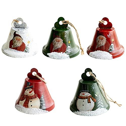 GCDN Campanas de Navidad con patrón de muñeco de nieve de Papá Noel y muñeco de nieve, adornos decorativos para colgar, juego de 5 unidades (tamaño: 8 x 8 cm)