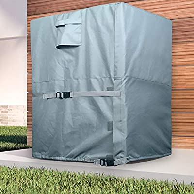 LBG Products Square Air Conditioner Coverfor Central AC Outdoor Condenser Units, Heavy Duty All Weather Protection, 24L x 24W x 30H inches Grey Color with Light Blue