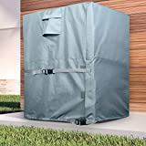 LBG Products Square Air Conditioner Cover for Central AC Outdoor Condenser Units, Heavy Duty All Weather Protection, 34L x 34W x 30H inches, Grey Color with Light Blue